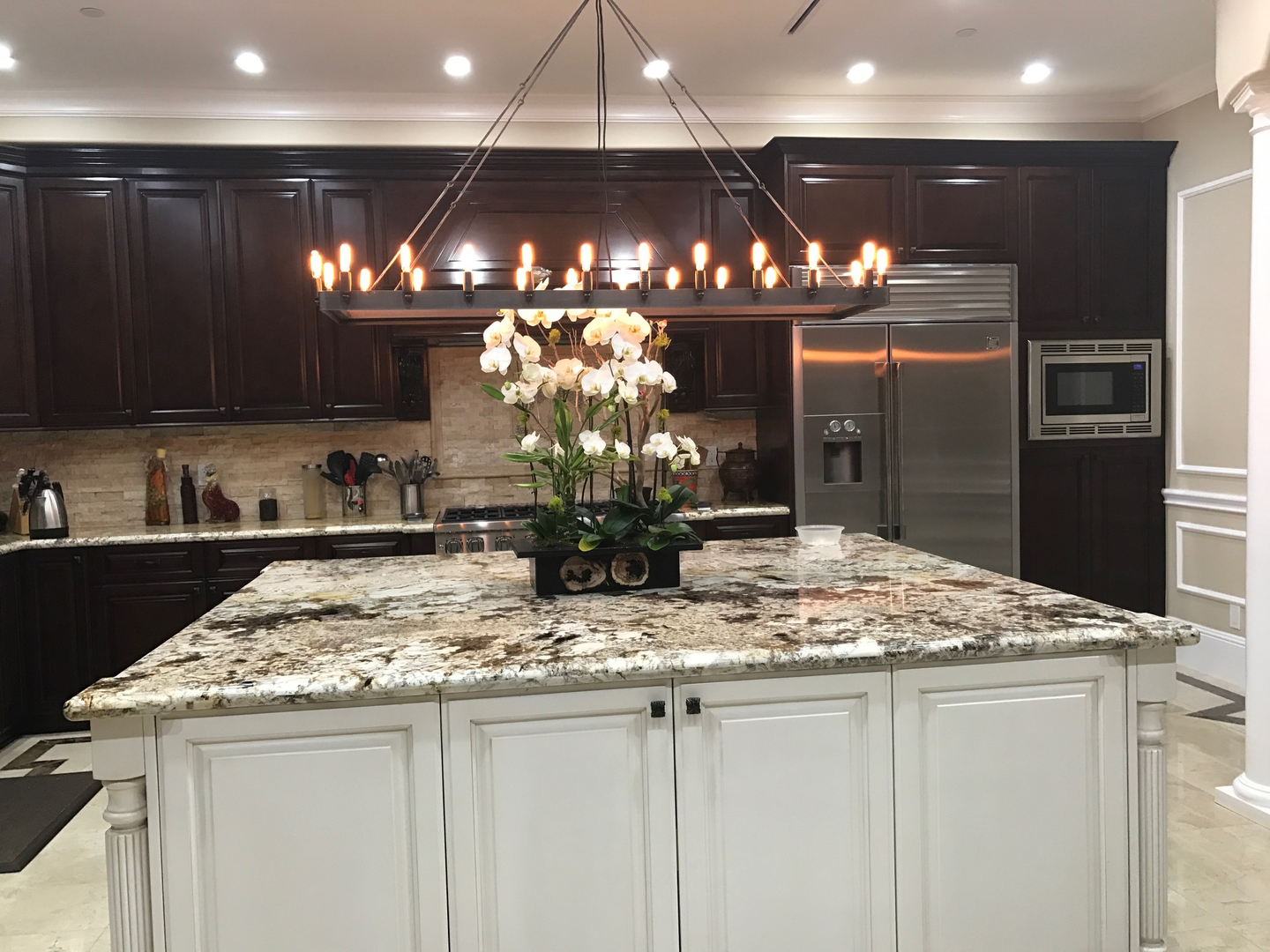 Marble kitchen countertop with unique lighting