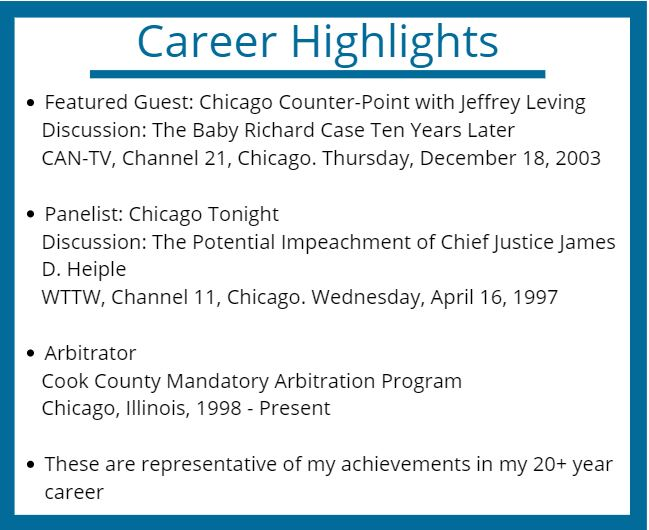 Career Highlights, Richard Craig, Personal Injury Attorney Chicago
