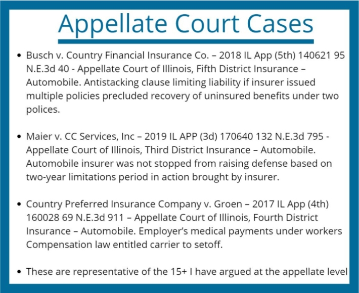 Insurance Coverage Attorney Appellate Court Cases
