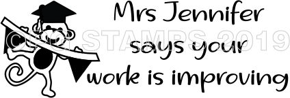 MONKEY 5 - Customised motivational teacher stamp