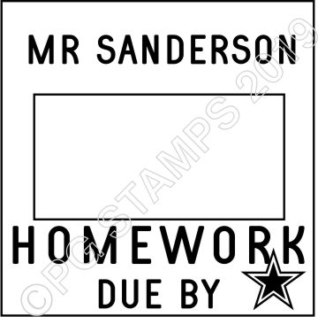 SQUARE DATER CUSTOMISED HOMEWORK DUE STAMP - 1