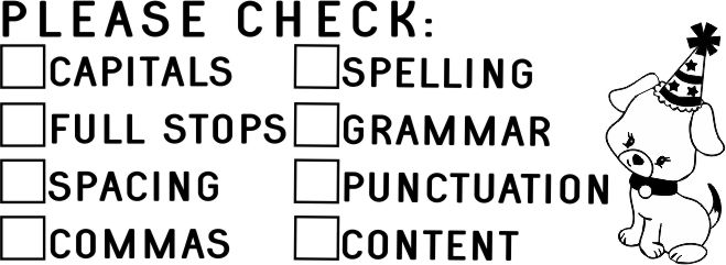 PUPPY 26 - Double column Writing Checklist - checkbox stamp