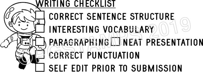ASTRONAUT 3 - Writing Checklist checkbox stamp