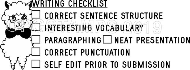 LLAMA 1 - Writing Checklist checkbox stamp