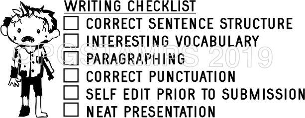 ZOMBIE 1 - Writing Checklist checkbox stamp