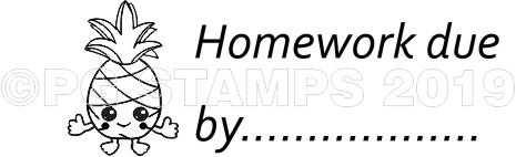 PINEAPPLE 19 - Homework due by teacher stamp