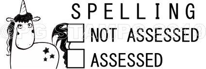 UNICORN 16 - Spelling Assessed/Not Assessed stamp