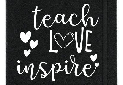 JOURNAL BLACK VINYL - Choice of 14 Teacher Quotes