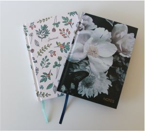 JOURNAL WITH FLORAL DESIGN in Black and White or Bush Design personalised with your NAME OR INITIALS