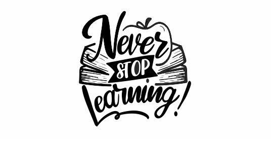 NT44 Never Stop Learning Motivational Teacher Stamp