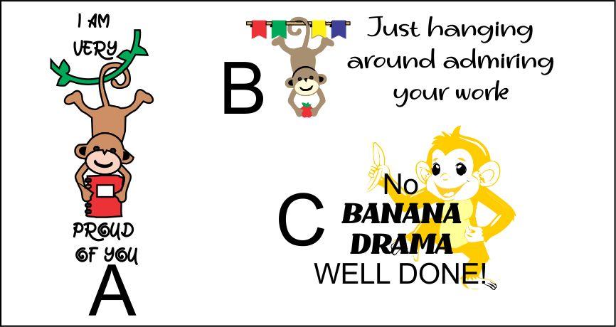 DIGITAL TEACHER STAMP 14 Non Personalised Monkey