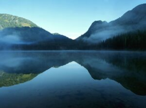 Reflection of a mountain on water, encouraging stillness and thought