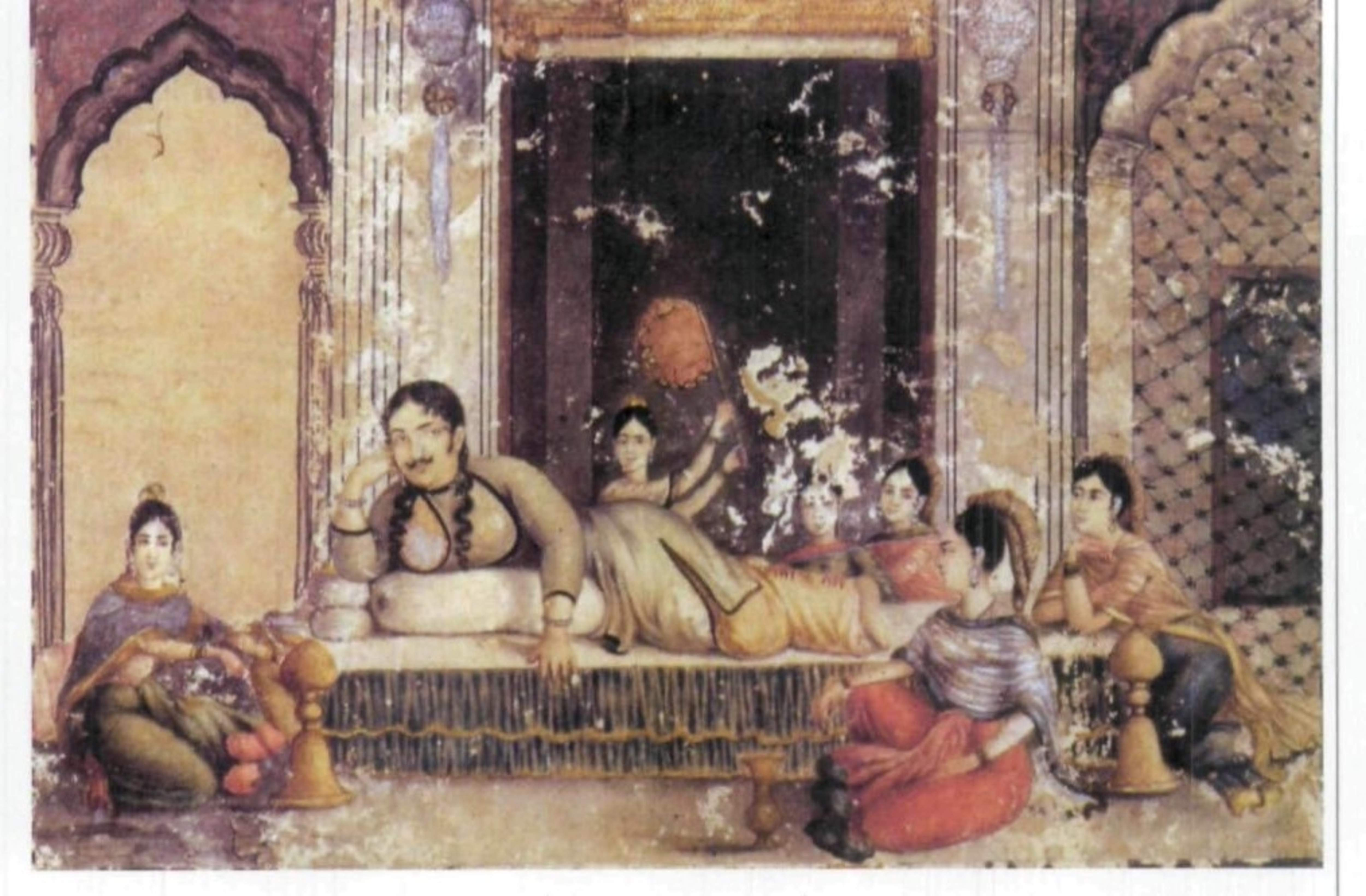 Nawab Wajid Ali Shah in the 'Fairy House', a sort of harem for girls who caught his eye, guarded by African women. c. 1800. (Rosie Llewellyn-Jones, Pinterest)