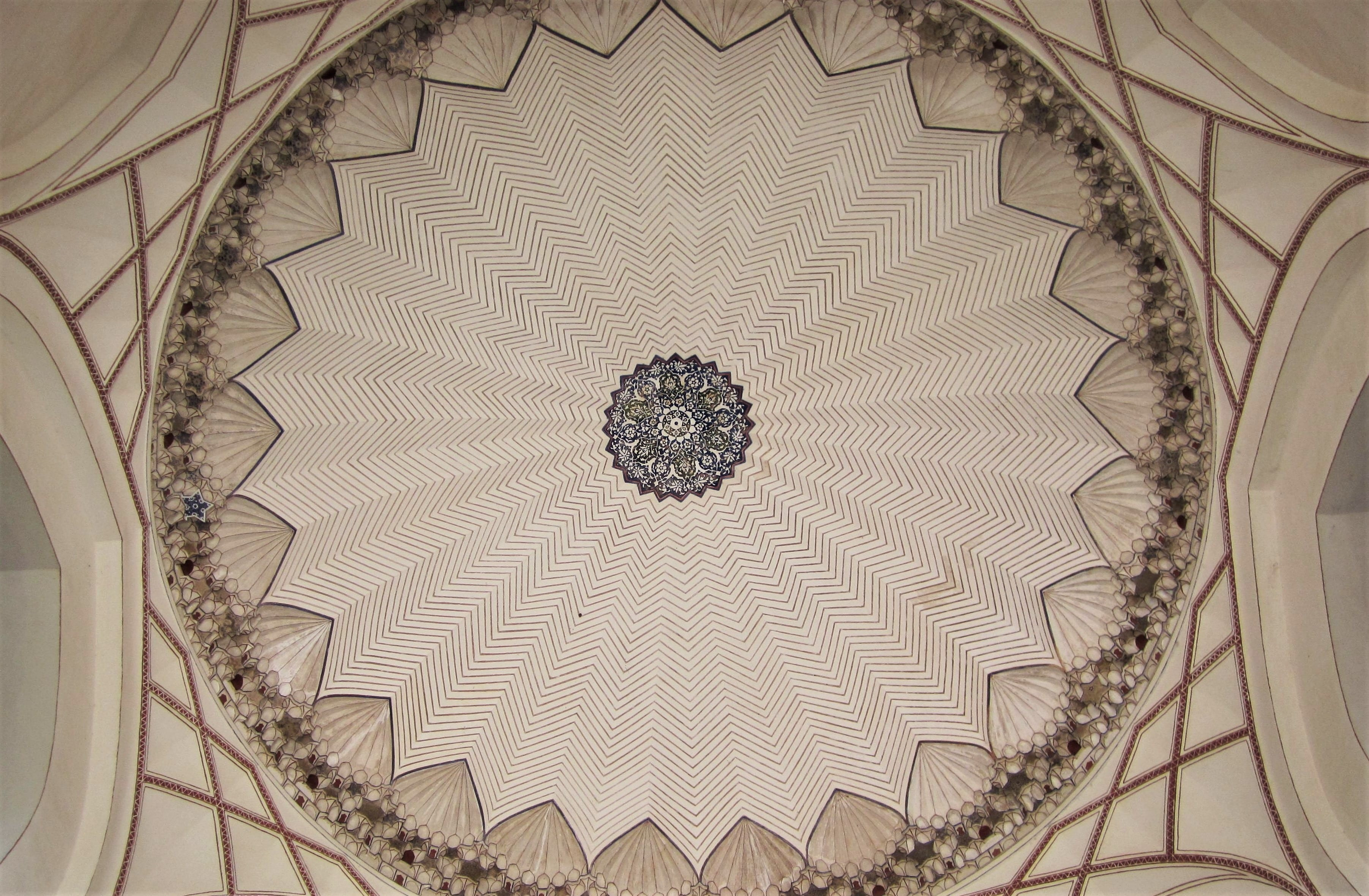 The ornate ceiling of the entrance to the Tomb chamber exemplifies the Persian attention to detail.