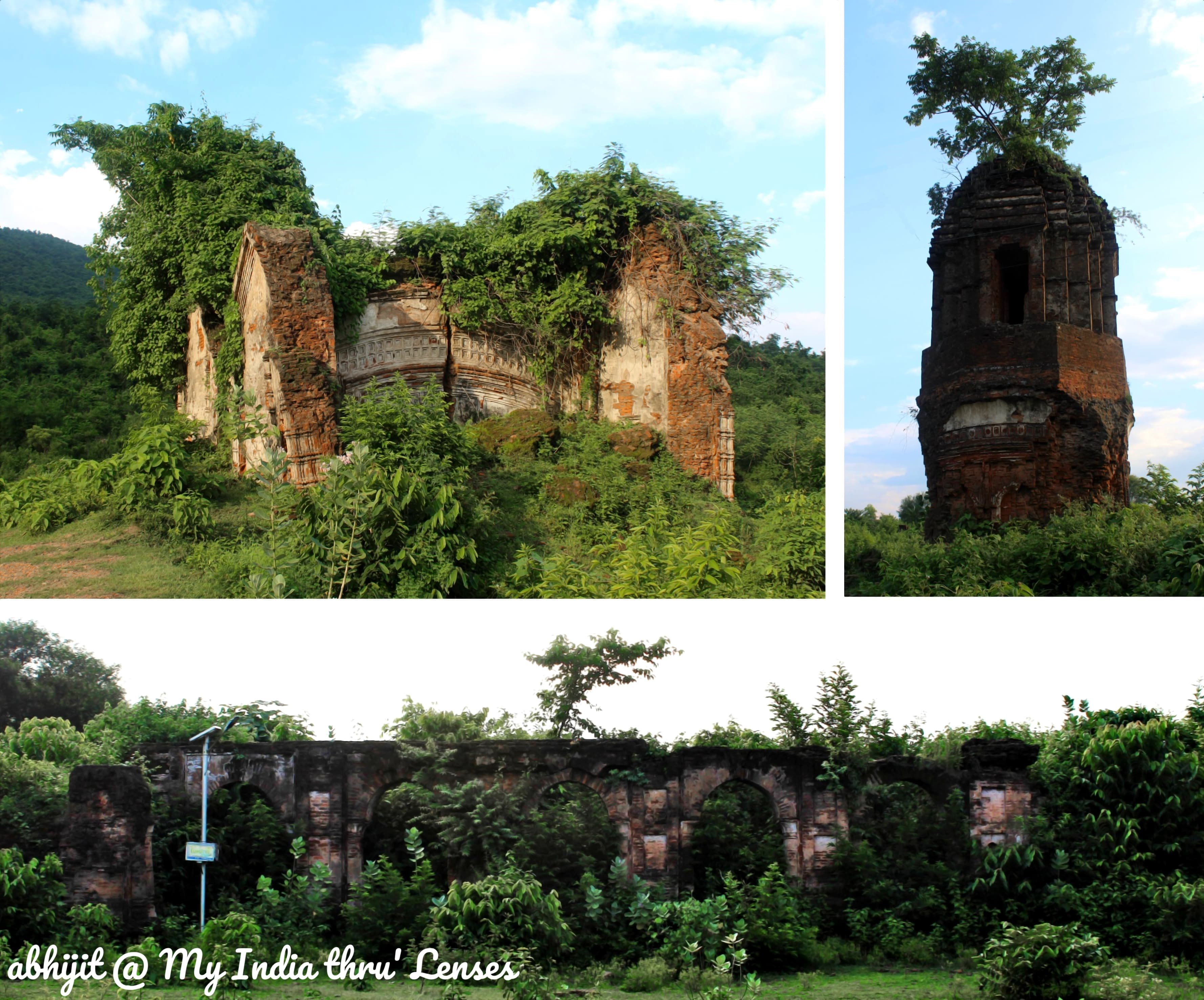 Ruins of the Fort. Top Left: A completely destroyed Temple. Top Right: A Watch Tower. Bottom: Palace Walls