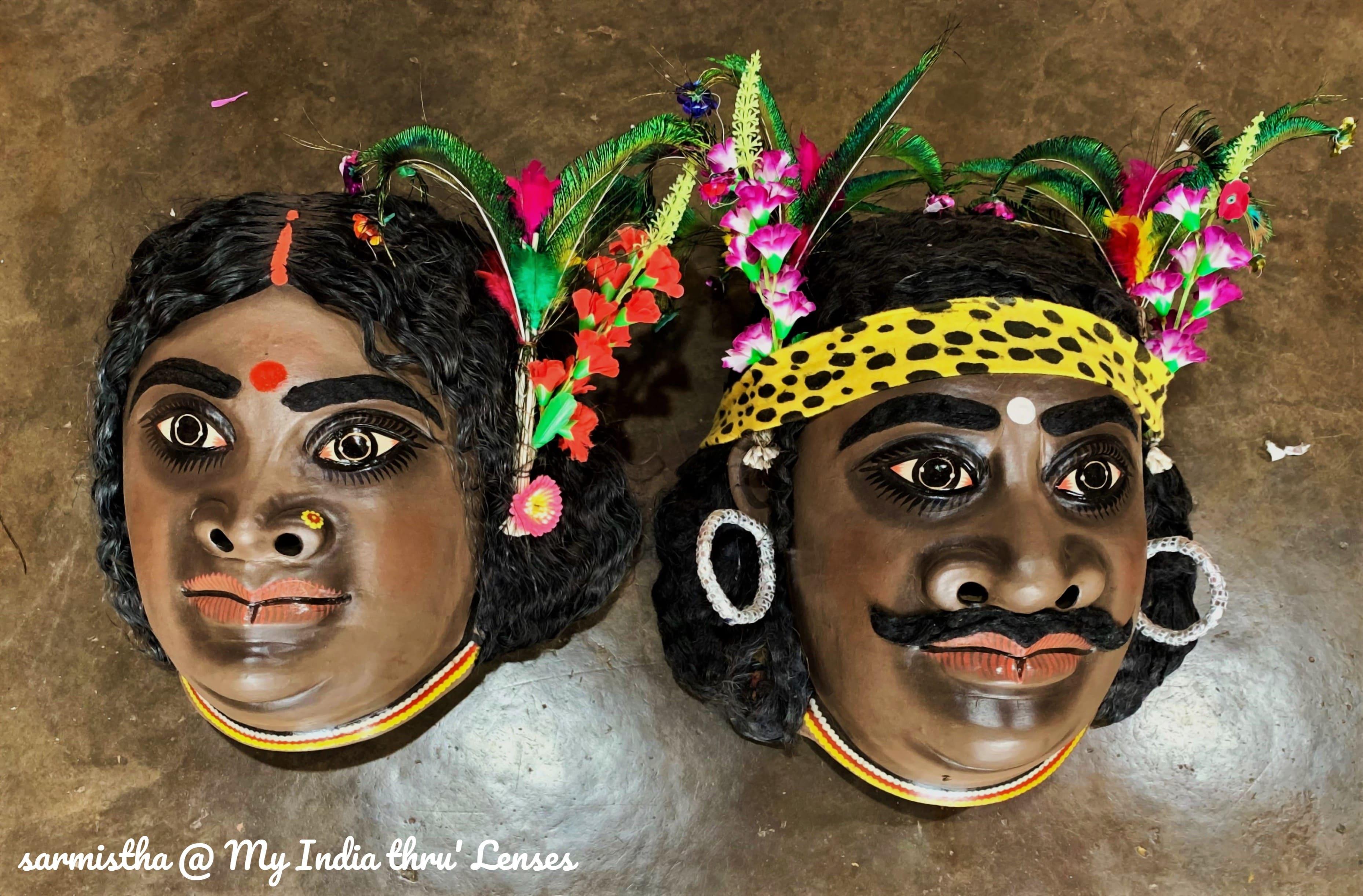 Mask of Kirat-Kiratin (incarnation of Shiv-Parvati)