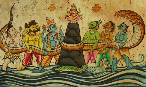 Goddess Lakshmi emerging out of 'Samudra Manthan' (PC - appsguru.net)