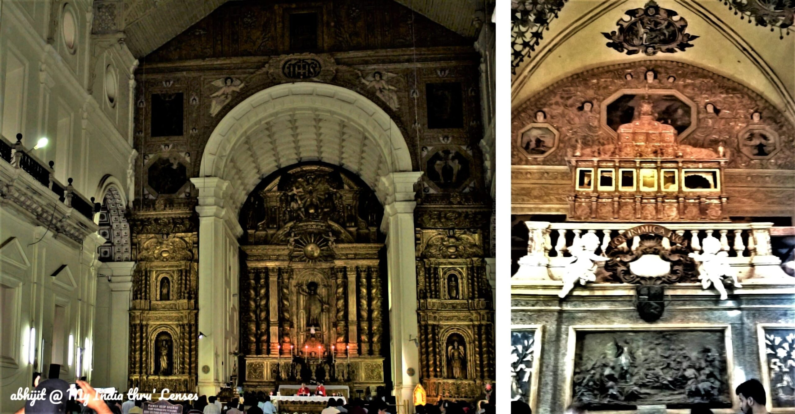 Left: Interiors of the Basilica of Bom Jesus   Right: The mummified body of St. Francis Xavier kept in a glass coffin within a silver casket on the top of a chapel