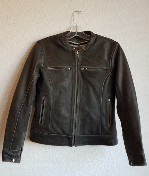 Leather Jacket Zipped up with pockets