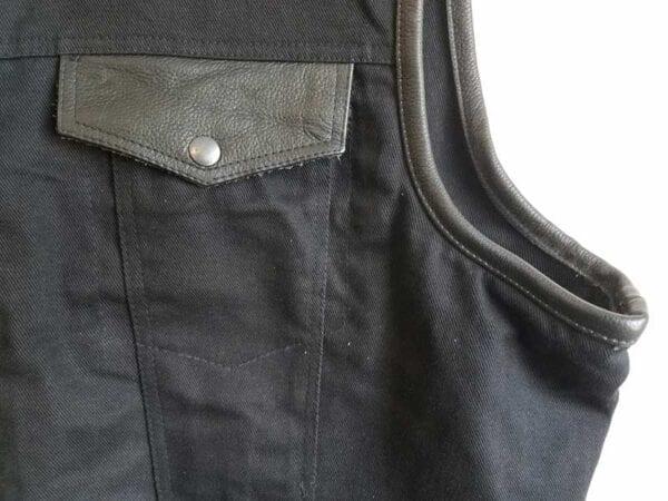 Black Denim Club Vest with Gun pockets