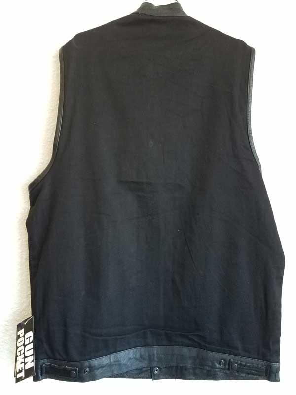 back view of black denim club vest