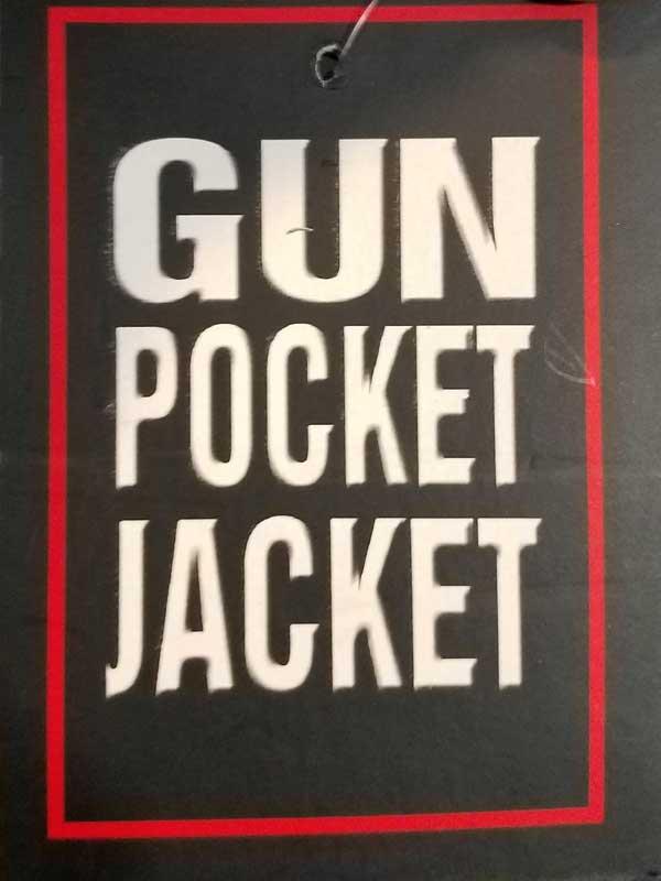 Tag for gun pocket jacket