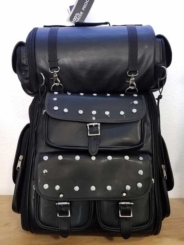 Black Leather Travel Pack with Studs