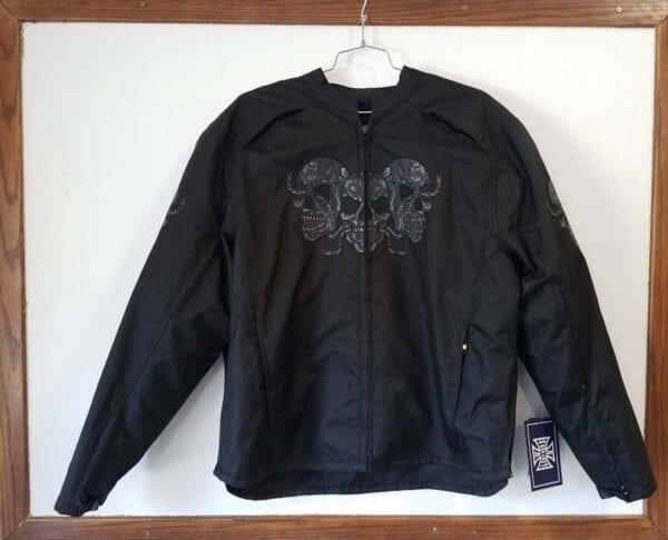Black nylon skull jacket with body armor