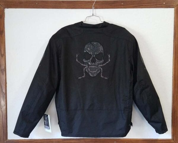 Rear view nylon skull jacket with body armor