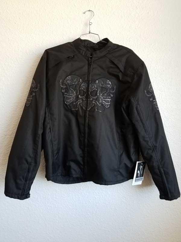 black nylon three skull jacket