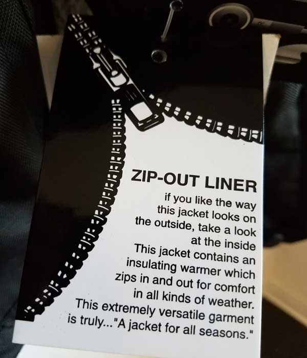Tag zip-out liner with instructions