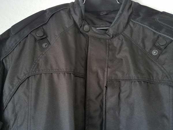 Black nylon vented jacket collar and torso
