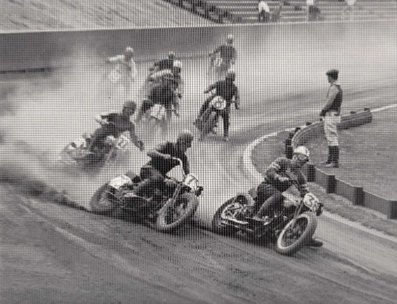 Eight people drifting on motorcycles in a course