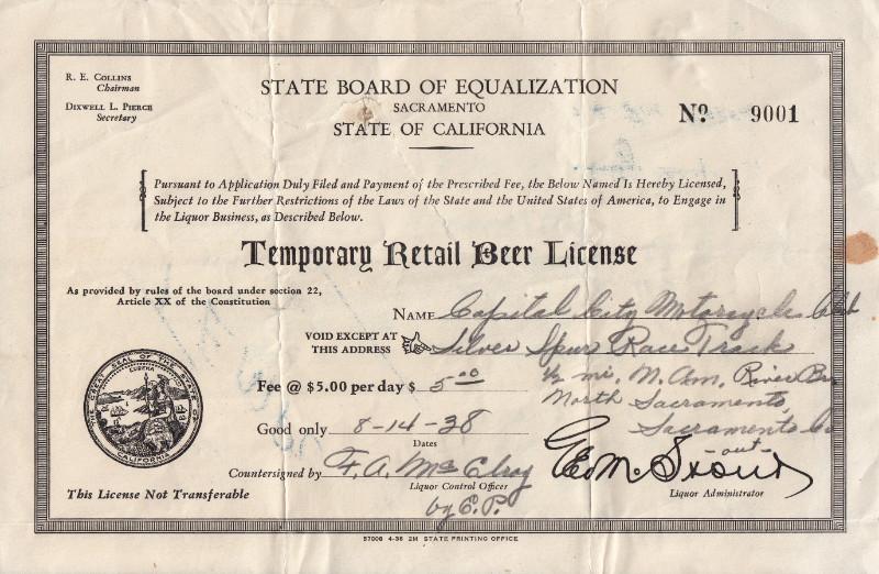Temporary Retail Beer License certificate