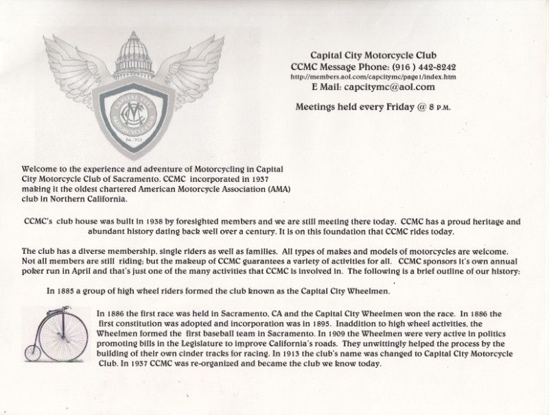 Capital City Motorcycle Club memo