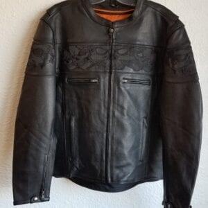 Black leather jacket with orange