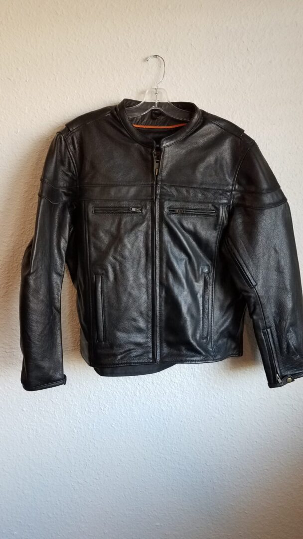 Leather jacket black stripes with zippers