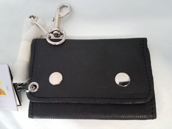 small wallet with silver hooks