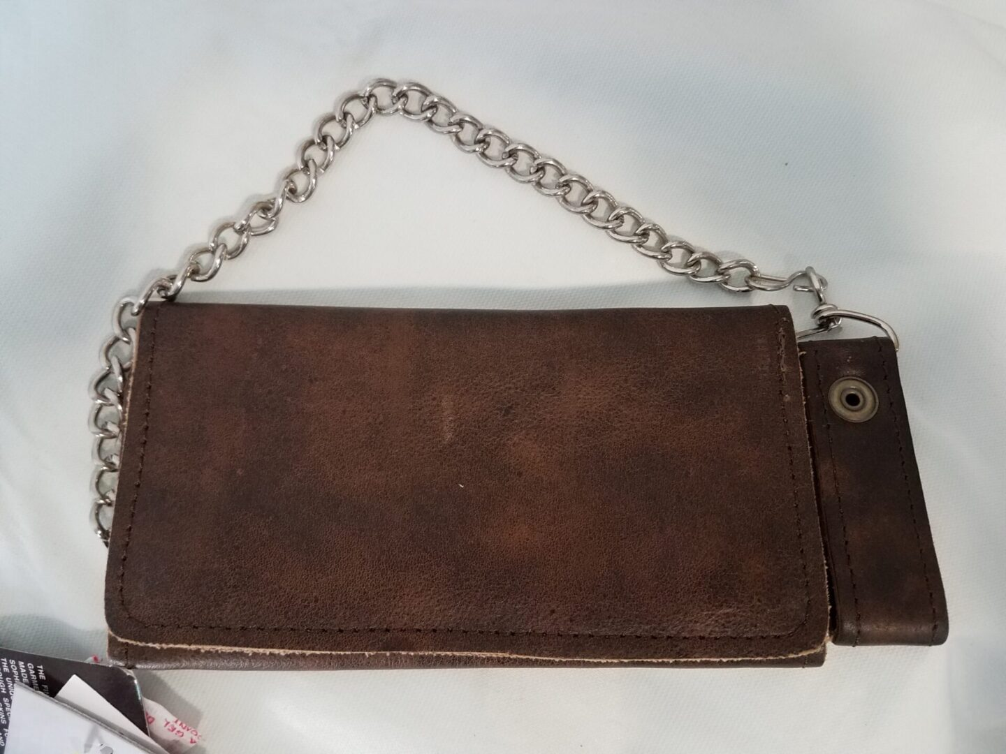 Brown leather wallet large with chain