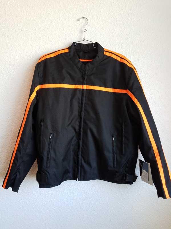 Black nylon jacket with orange stripes