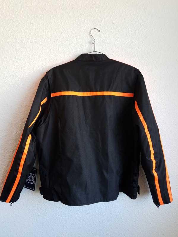 Rear view black nylon jacket with orange stripes