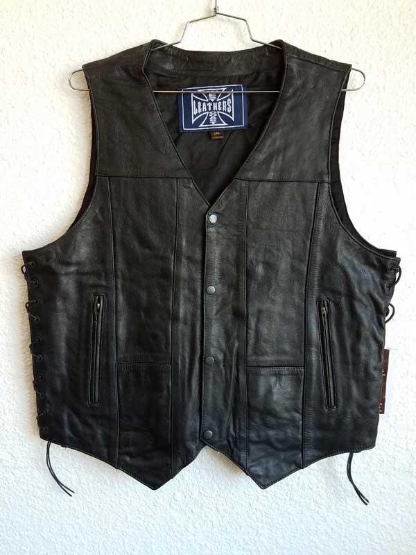 Hi Grade Leather Black Vest