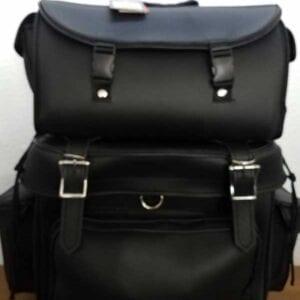 black plain leather travel pack