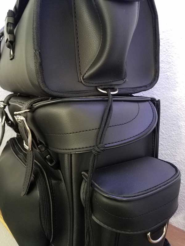 Angled view leather plain travel pack