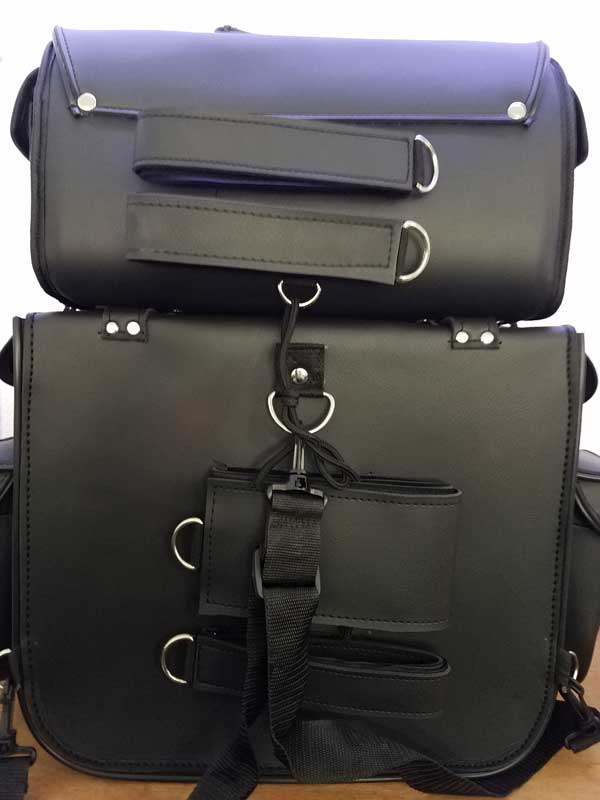 Rear view black leather travel pack