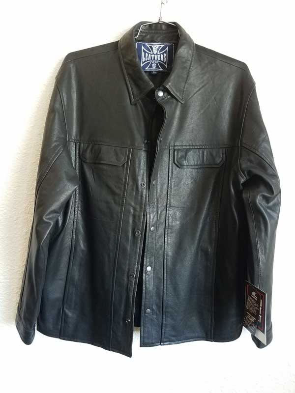 Man's leather jacket with gun tag