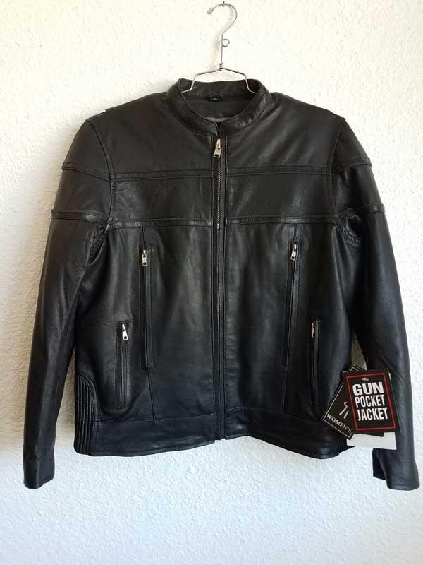 Men's leather jacket with black stripes