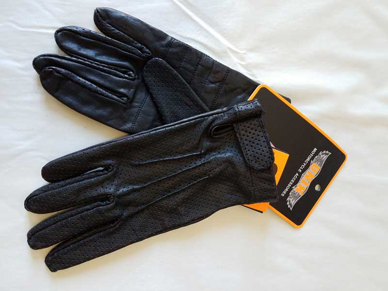 Perforated black gloves