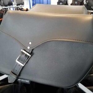 Plain black throw over saddlebag leather