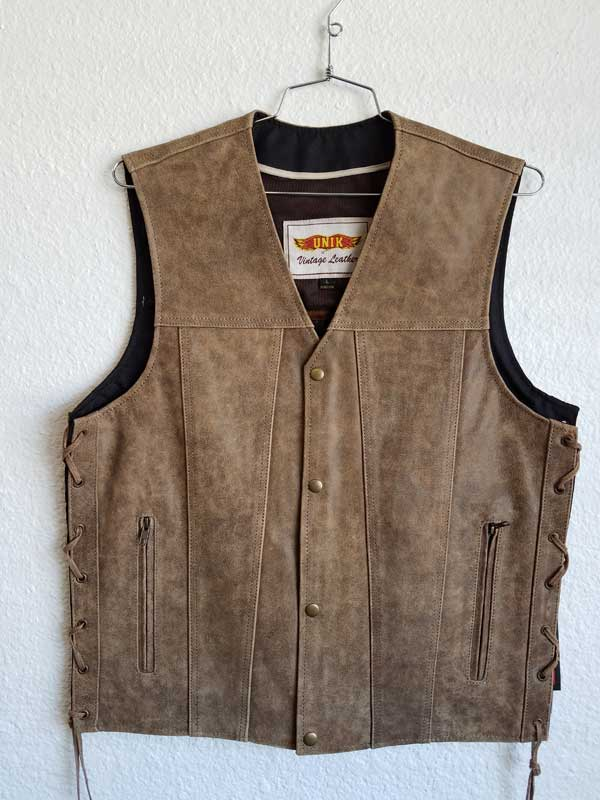 Sand-colored leather vest